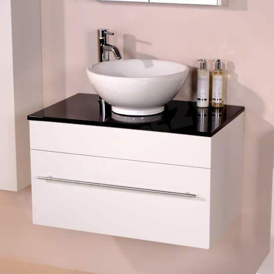 Polished bathroom basin countertop - made of black material