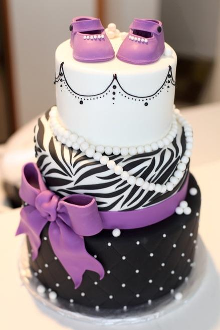 Purple baby shower cake - for baby girl