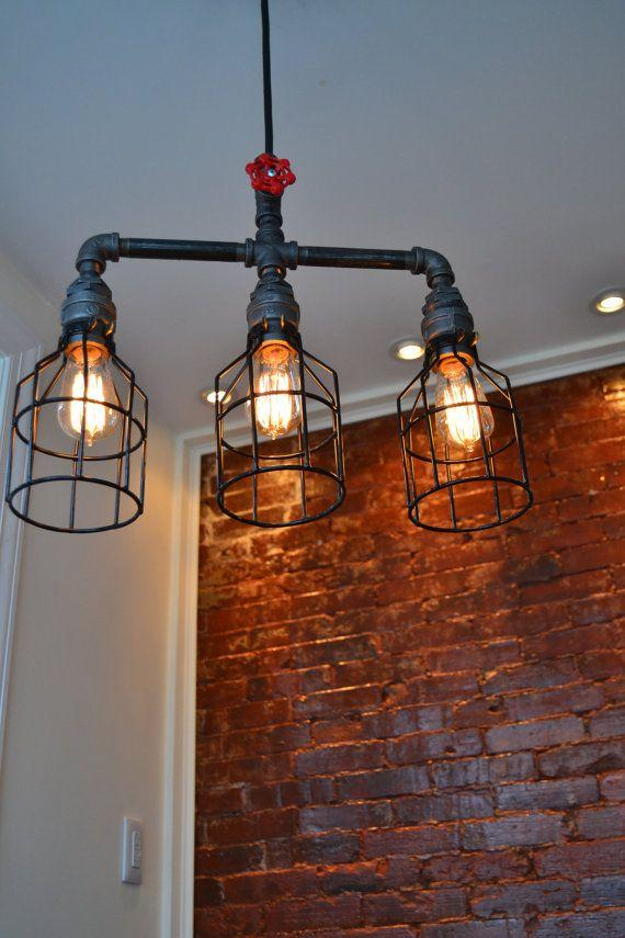 Raw industrial pendant - with vintage light bulbs
