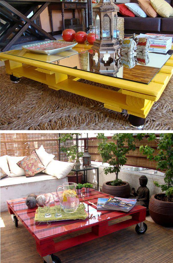 Red and yellow pallet tables - with mobile wheels