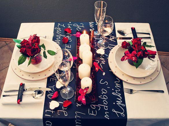 Romantic table setting 1 - with roses for two