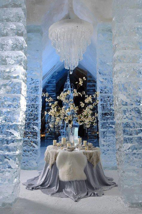 Romantic table setting 6 - in an ice castle