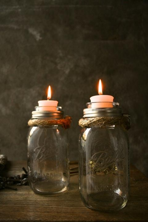 Rustic Christmas jars - with burlap ribbon