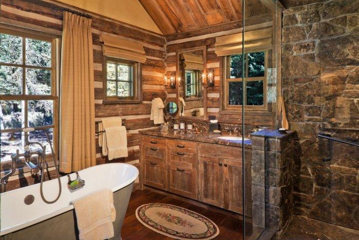 Rustic bathroom 5 - with glazed shower area