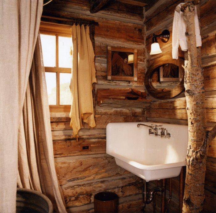 Rustic bathroom 6 - with corner sink