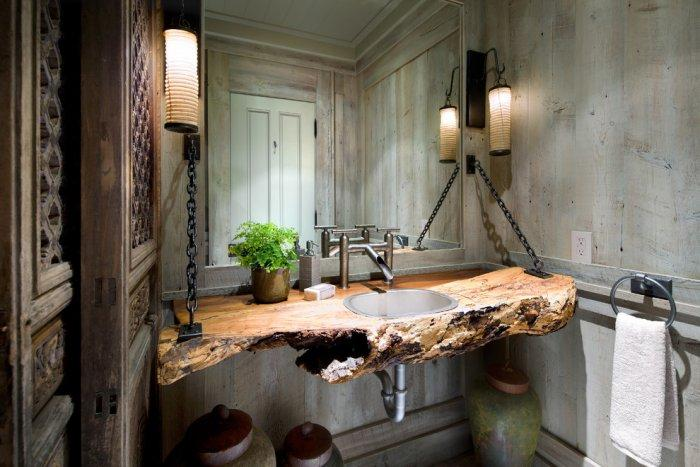 Rustic bathroom - with amazing sink surface