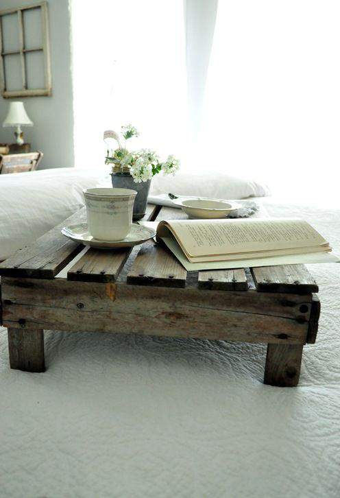 Rustic pallet table - with coffee cup and book on it