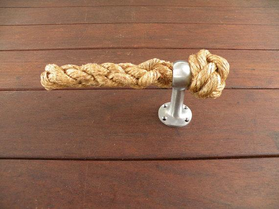 Rustic toilet paper holder - made of old rope