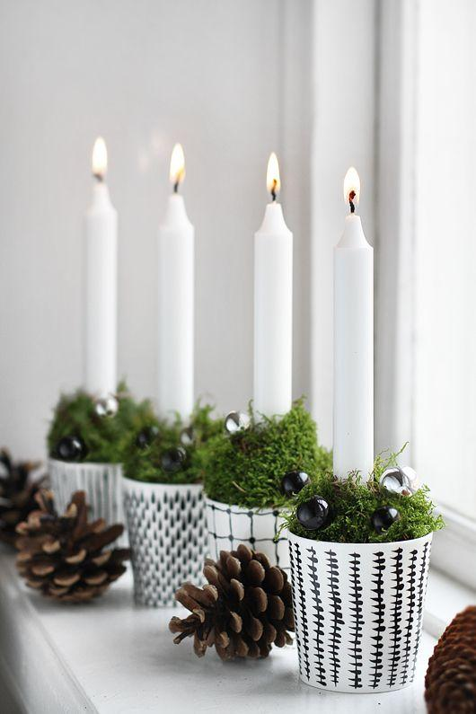 Scandinavian Christmas candles - in flower pots