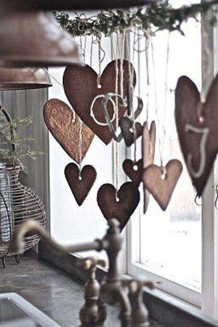 Scandinavian Christmas hearts - for living room