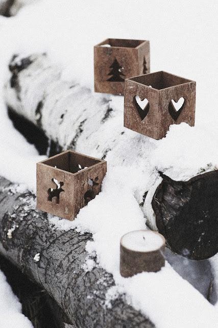 Scandinavian Christmas lanterns - made of wood