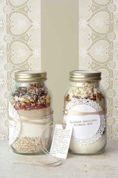 Shabby Chic Christmas jars - full of nuts and powder