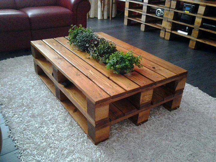Pallet furniture tables beds couches and bookshelves founterior - How to make table out of wood pallets ...