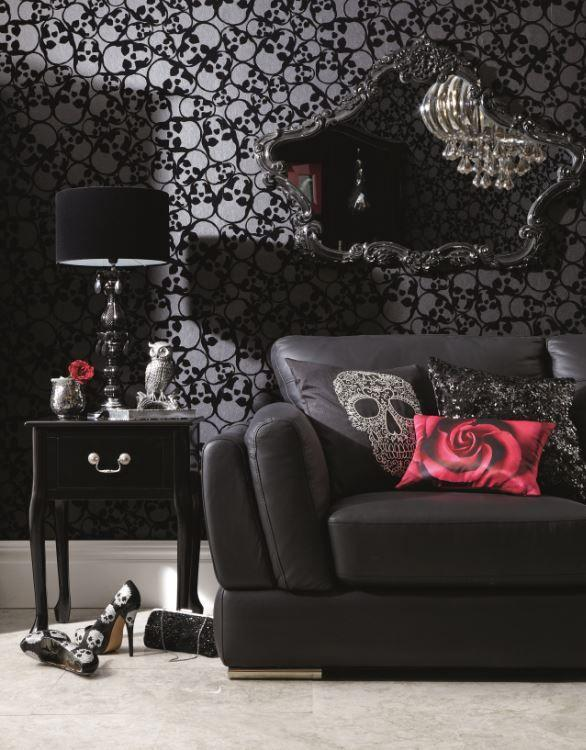 Skull living room paint - and black modern sofa