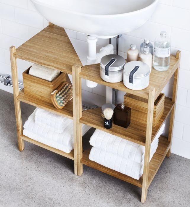 Small bathrom storage shelves - inside a modern bathroom
