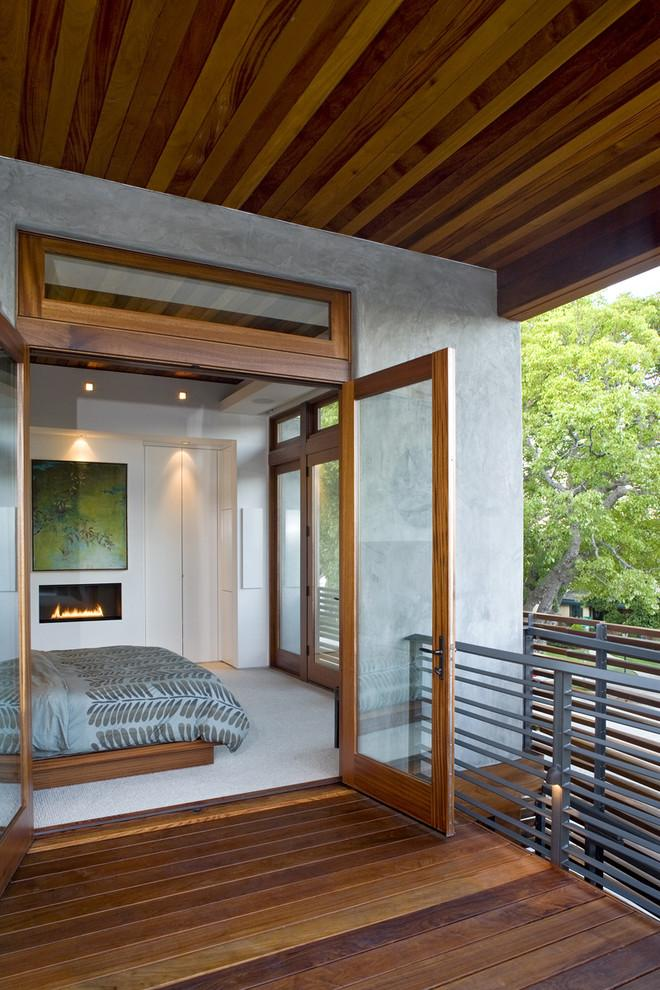 Small Bedroom Fireplace In A Contemporary Villa