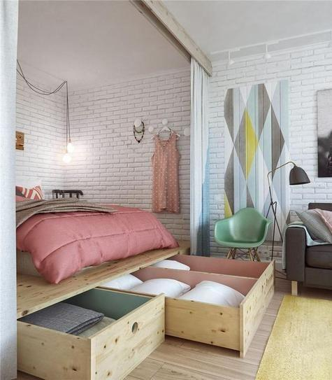 Small bedroom idea - with giant drawers
