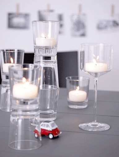 Small glass candleholder - for table use