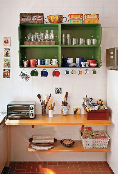 Small vintage kitchen - with green cupboard