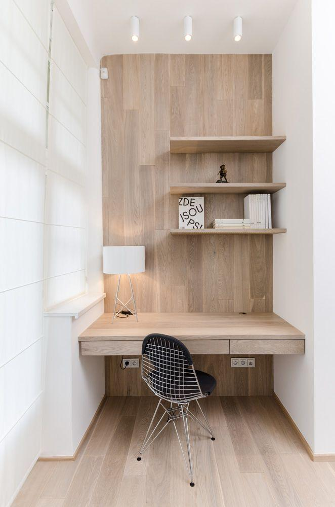 Small working desk - with narrow wooden design