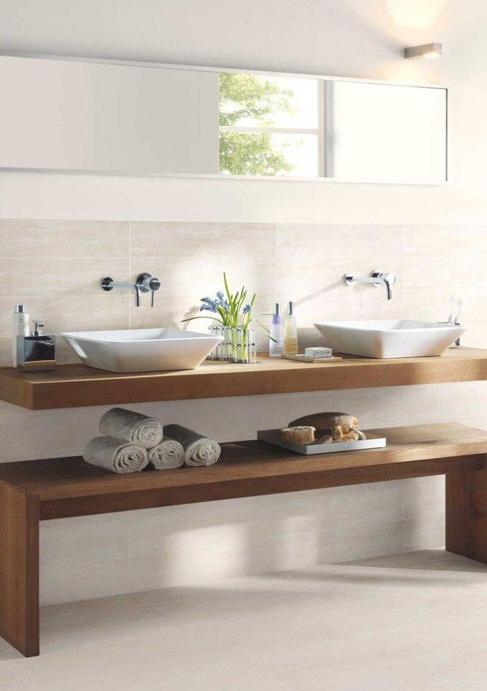 Solid wooden bathroom basin countertop - and wooden bench for towel storage