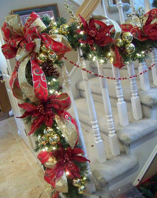 stair christmas garland 1 with red ribbons and balls - Decorating Banisters For Christmas With Ribbon
