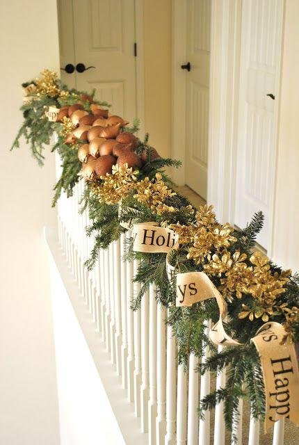 stair christmas garland 2 in pale neutral colors