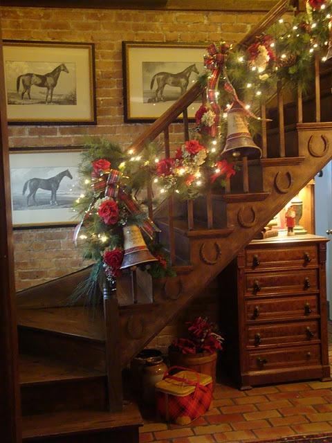 stair christmas garland with bells and lights