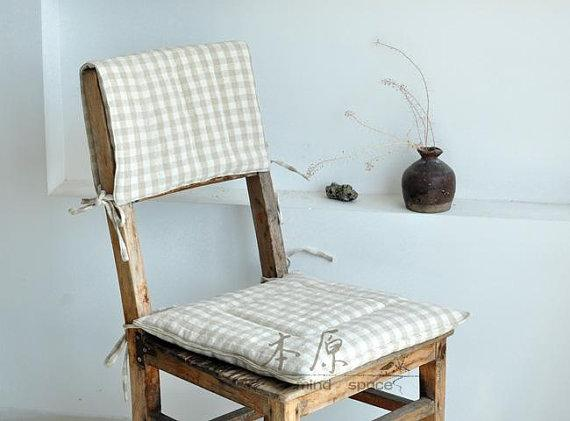 Striped chair cushion - on squares