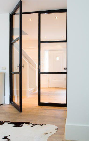 Stylish Glass Hallway Door With One Opening Wing