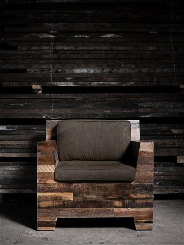 Stylish pallet armchair - with dark textile seat