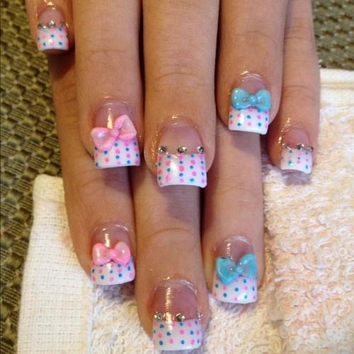 Sweet baby shower nails - with little ribbons