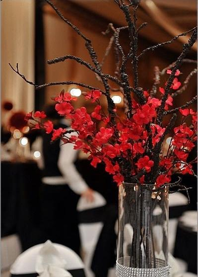 Table With Chinese Decoration 3 Red Authentic Flower