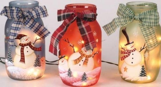 Three Christmas jars - with snowmen