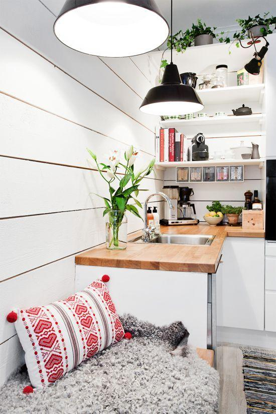 Small Space Ideas for Tiny Homes Founterior : Tiny kitchen idea with industrial lights from founterior.com size 550 x 826 jpeg 82kB