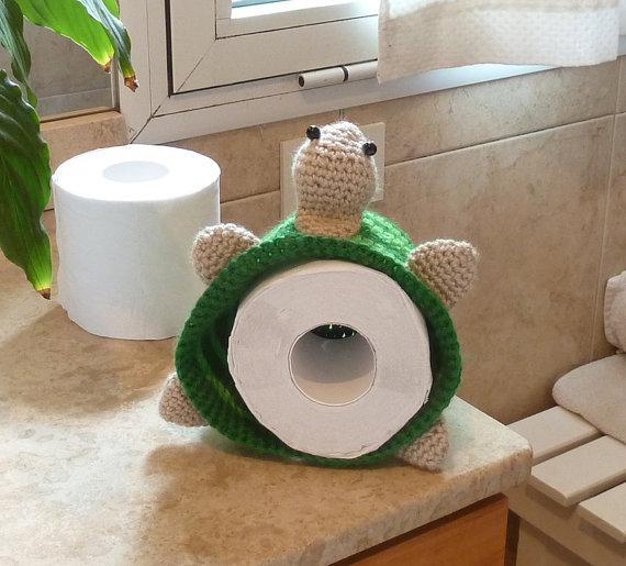 Toilet paper storage - knitted character