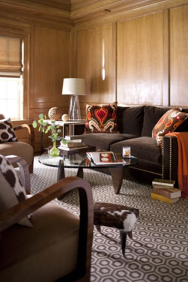 Traditional brown sofa - with decorative pillows