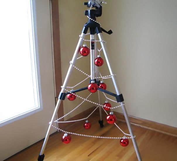 Tripod Christmas tree - with red balls