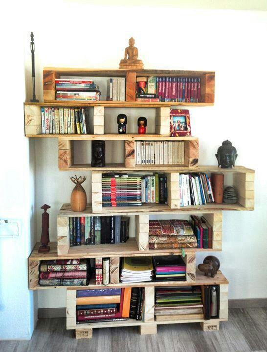 Urban pallet bookshelves - with lots of books on it