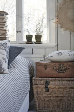 Vintage bedroom with old trunk