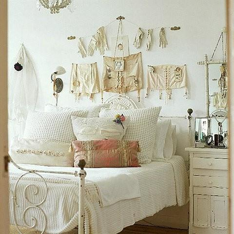 Vintage bedroom accessories - placed on the wall