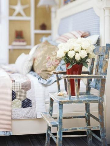 Vintage bedroom chair - and red vase
