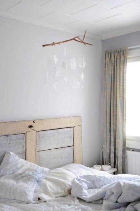 Vintage bedroom decor - hanged on the ceiling