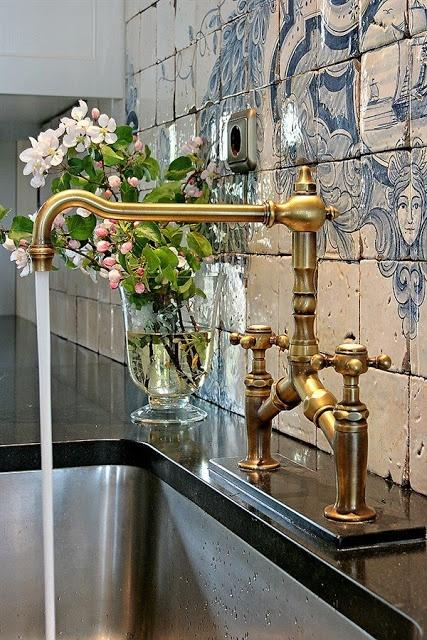 Vintage brass bathroom faucet - in an authentic bathroom