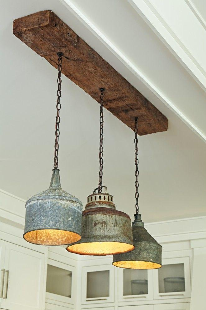 Vintage industrial pendants - with rustic wooden base