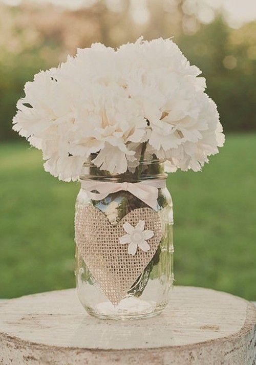 Wedding mason jar - with white flowers