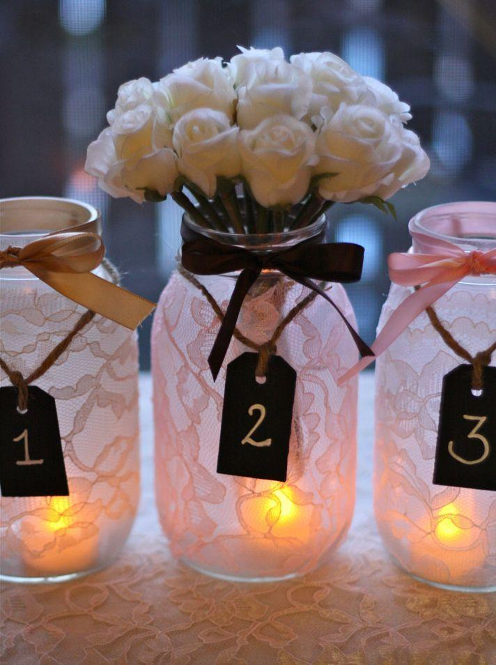 Wedding mason jars 1 - with white roses