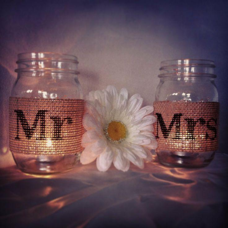 Wedding mason jars - Mr and Mrs