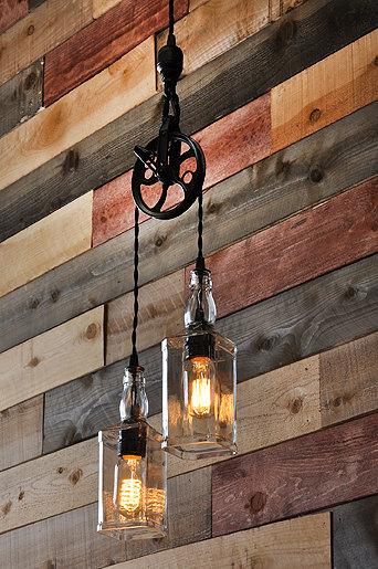 Whiskey bottle industrial pendant - hanging from the ceiling