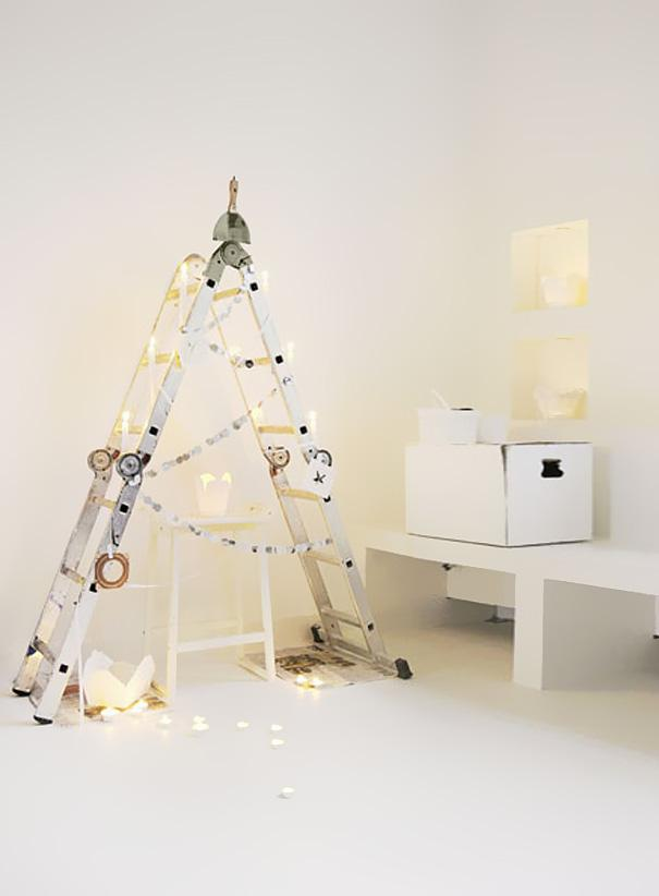 White Christmas tree - made of a ladder